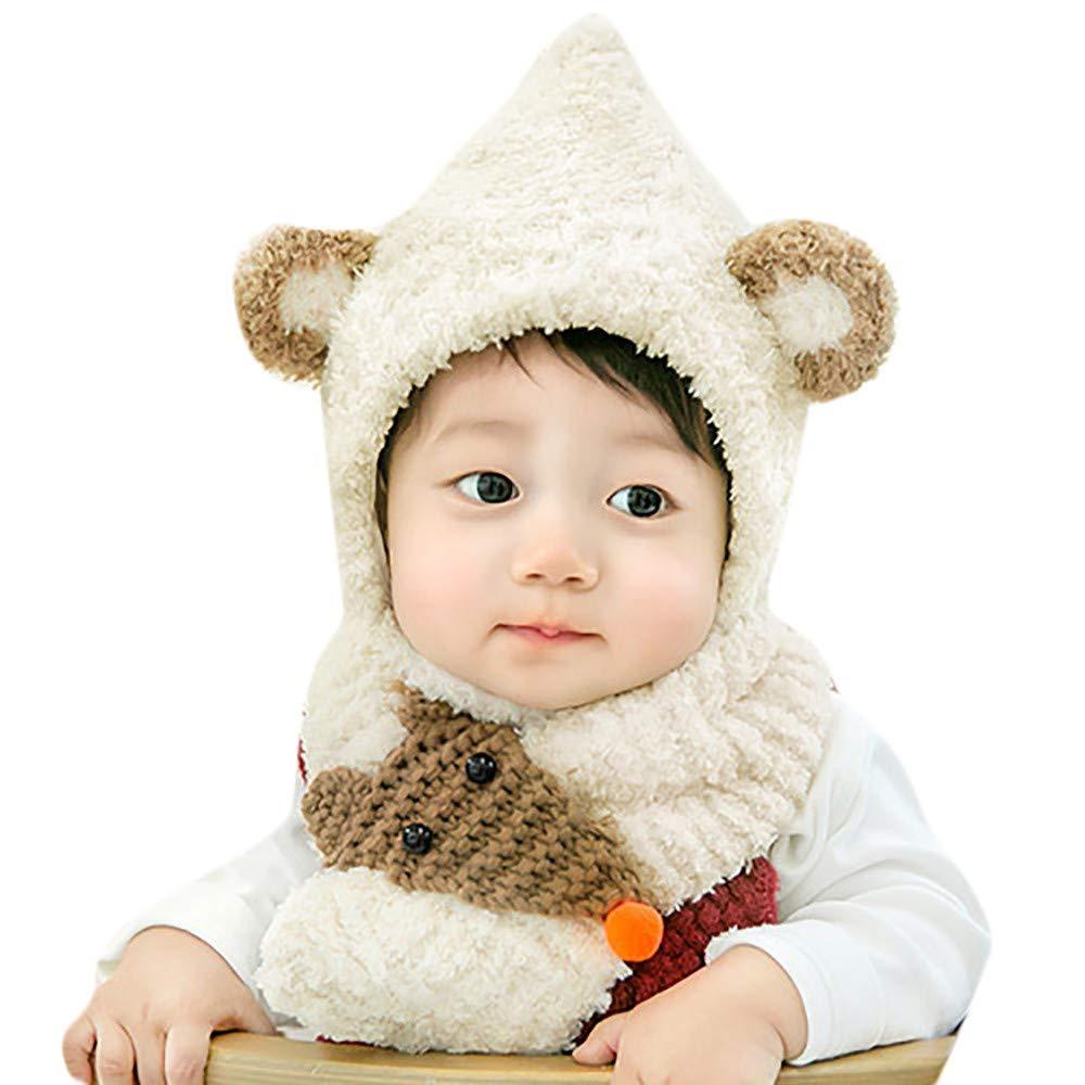 Ensemble chapeau de bébé écharpe en peluche, Bonnet écharpe en fourrure tricotée BZLine pour bébé garçon 6 à 24 mois