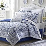 4 Piece Blue Floral Full Size Comforter Set, Beautiful White French Country Shabby Chic Bohemian Flowers, Coastal Geometric Design Geometrical, Lake House Cabin Cottage, Reversible Bedding, Cotton