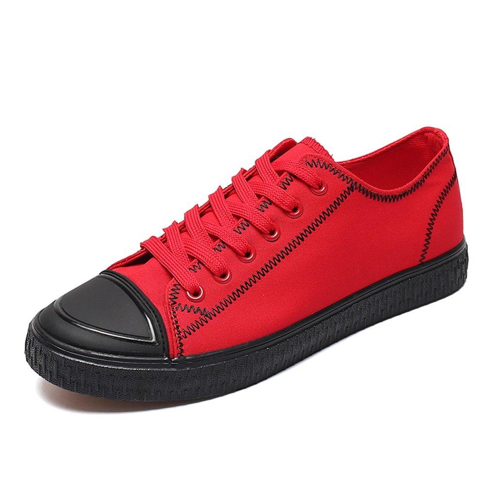 HUAN Zapatos de Los Hombres de Lona de Primavera y Verano Zapatos de Otoño vulcanizados Para Las Zapatillas de Deporte de Moda Informal Rojo, Negro 39 EU|Rojo