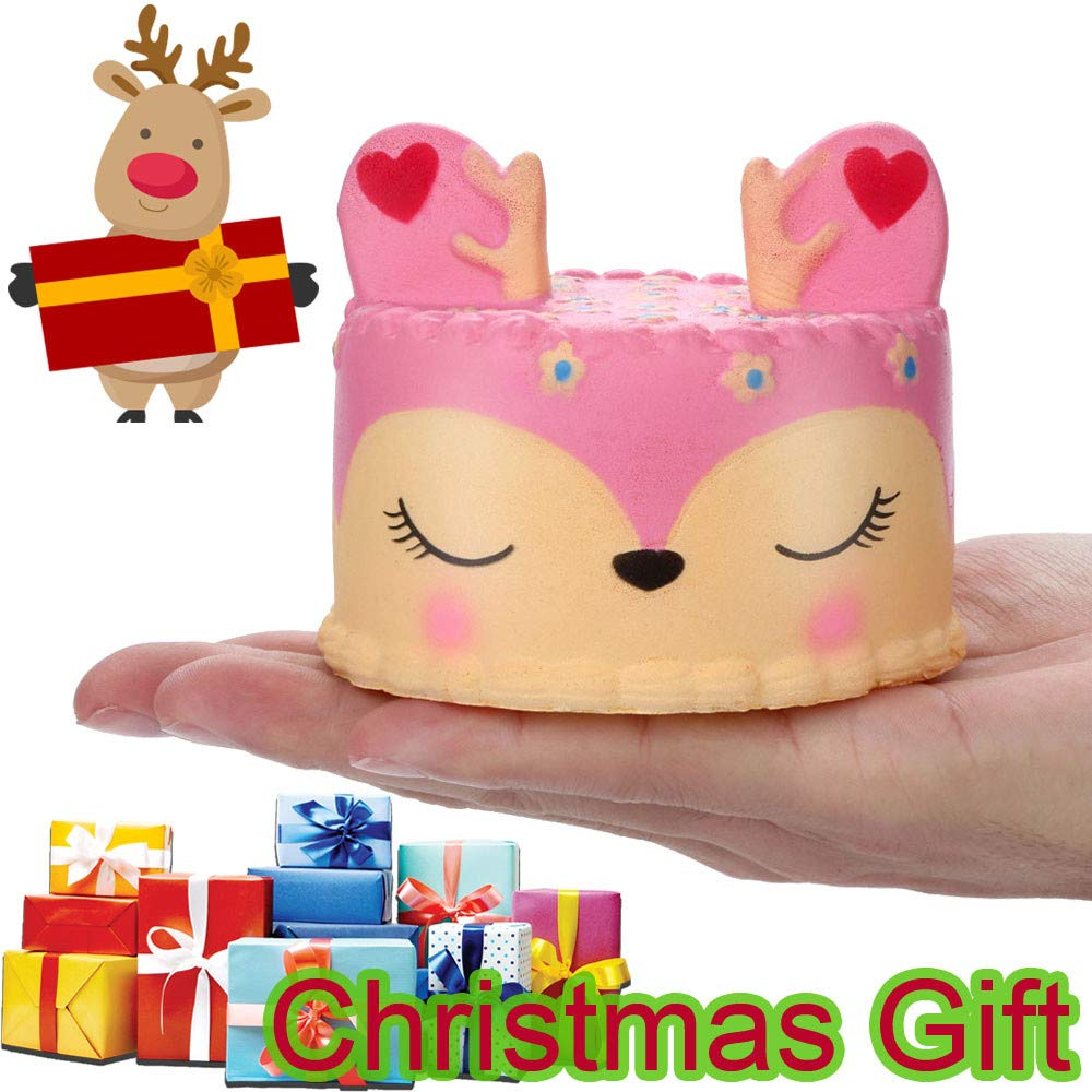 Amazon.com: LtrottedJ Adorable Squishies Pink Deer Cake Slow Rising Fruit Scented Stress Relief Toys: Toys & Games