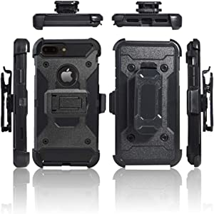 Cocomii Military Belt Clip Holster iPhone 8 Plus/7 Plus Case, Slim Thin Matte Kickstand Swivel Belt Clip Holster Drop Protection Bumper Cover Compatible with Apple iPhone 8 Plus/7 Plus (Black)