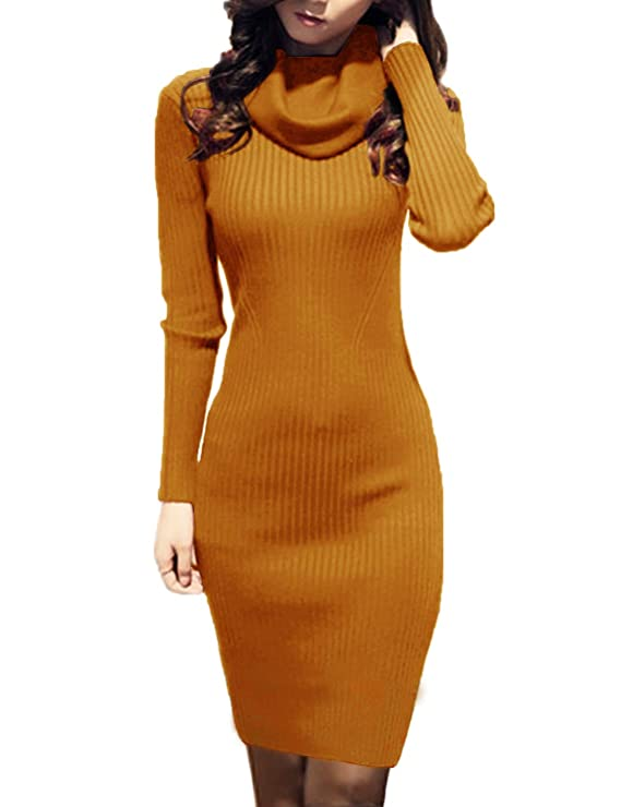 v28 Women Cowl Neck Sweater Dresses | Knit Stretchable Ladies Long Sleeve Sweater Dresses