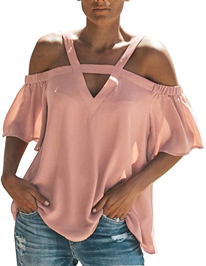 Camisa de gasa con hombros descubiertos, cuello en V ...