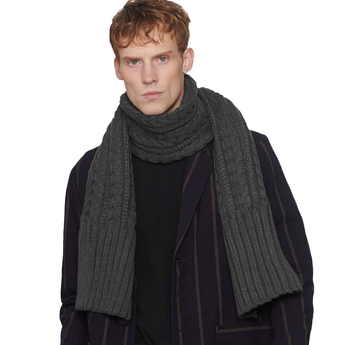CACUSS Scarf for Men Winter Knit Solid Color Warm Thick Scarf Students Long Trend Casual Infinity Scarf Knitting Trend Scarf Size 70.74×12.58 Inches (Dark gray) by CACUSS (Image #3)