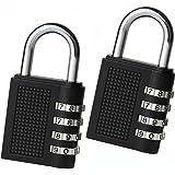 Medaa Padlock Set-Your-Own Combination Lock- 4 Digit Combination Lock - Waterproof Padlock 2 Packs-Black