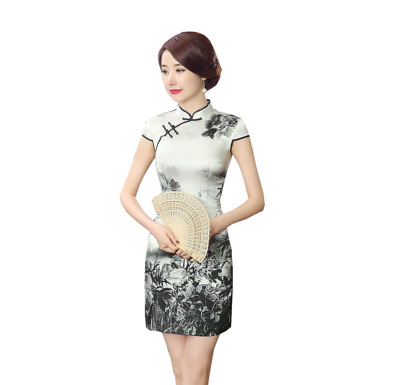 Yue Lian Frauen Seide Dress Tuschmalerei Muster Chinesische Qipao ...