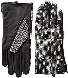 Calvin Klein Women's Leather Palm Herringbone Glove Accessory, Black, Large