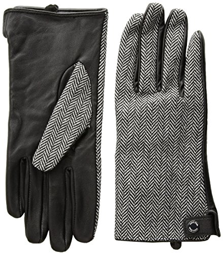 Calvin Klein Women's Leather Palm Herringbone Glove Accessory, Black, Medium