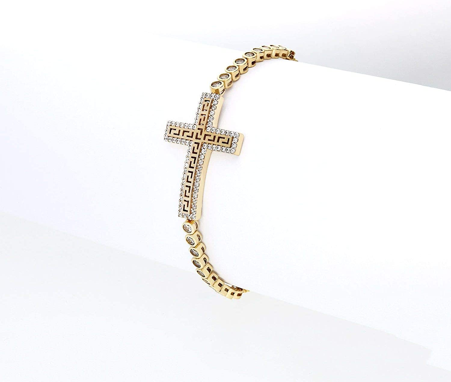 10K Yellow Gold Created Diamond Greek Key Cross Adjustable Bolo Bracelet
