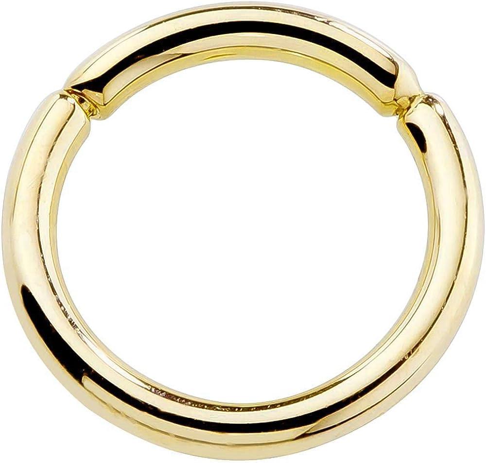 FreshTrends 14G 14k Yellow Gold Segment Belly Nipple Septum Eyebrow Lip Ring