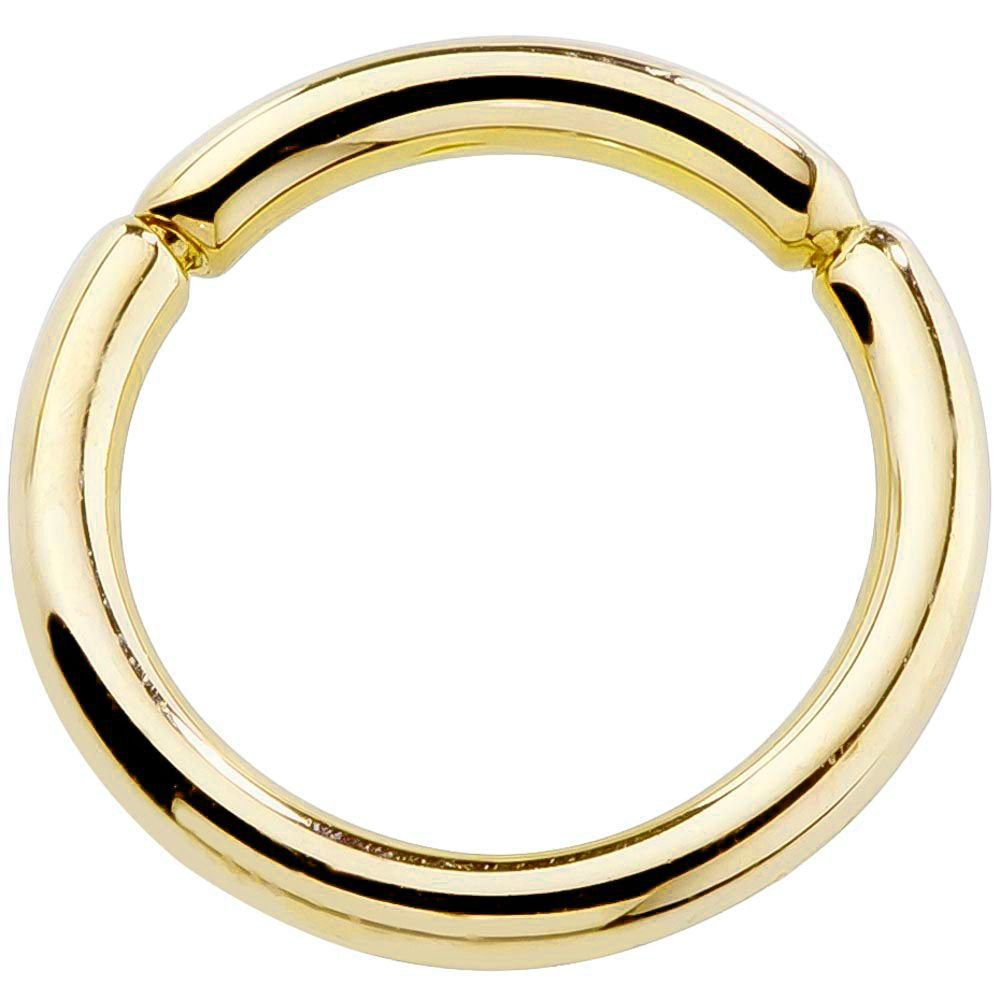 14G 3/8'' 14K Yellow Gold Segment Belly Nipple Septum Eyebrow Lip Ring by FreshTrends