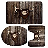 3 Piece Bath Mat Rug Set,Antler-Decor,Bathroom Non-Slip Floor Mat,Rustic-Home-Cottage-Cabin-Wall-with-Antlers-Hunting-Lodge-Country-House-Trophy-Decorative,Pedestal Rug + Lid Toilet Cover + Bath Mat,B