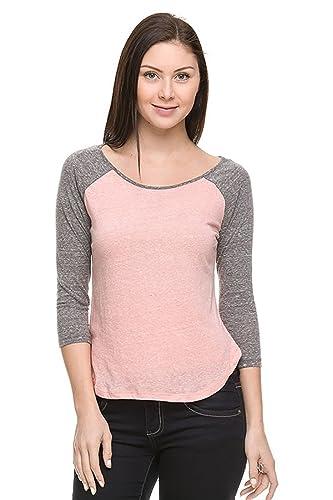 0809b237f18e8 TheLovely Casual 3 4 Sleeve Melange Raglan Baseball Tee Shirts at Amazon  Women s Clothing store