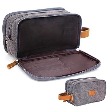 Travel Toiletry Bag for Leather Zipped Women Man Organizer Shaving Shower Kit