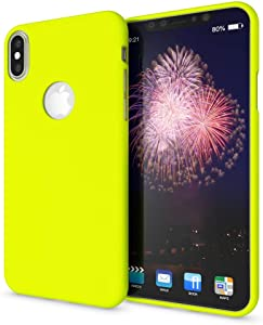 NALIA Case Compatible with iPhone Xs Max, Ultra-Thin Luminous Neon Back-Cover Silicone Protector Rubber Soft Skin, Flexible Protective Shockproof Slim-Fit Bumper Smart-Phone Back-Case, Color:Yellow