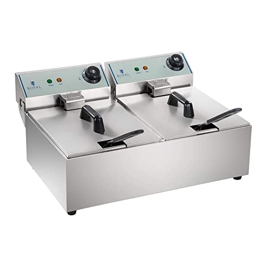 Royal Catering Freidora Doble Industrial Eléctrica Profesional RCEF-10DY-ECO (2 x 10 Litros, 2 x 3.200 W, 230 V, Termostato, ECO, Acero Inoxidable)