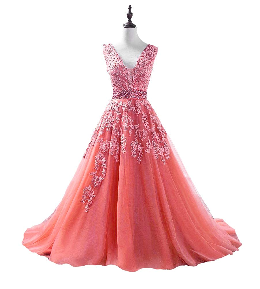 Coral DKBridal Women's V Neck Applique Beaded Prom Dress Long Tulle Aline Evening Party Gowns 2019