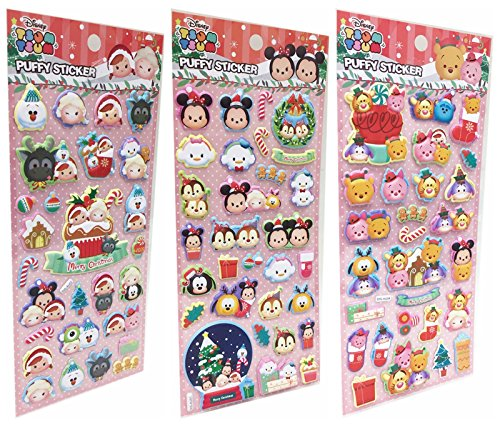 JENG TAIR Disney Tsum Tsum 3D Puffy Stickers for Kids and Toddlers Variety 3 Pack (Christmas -