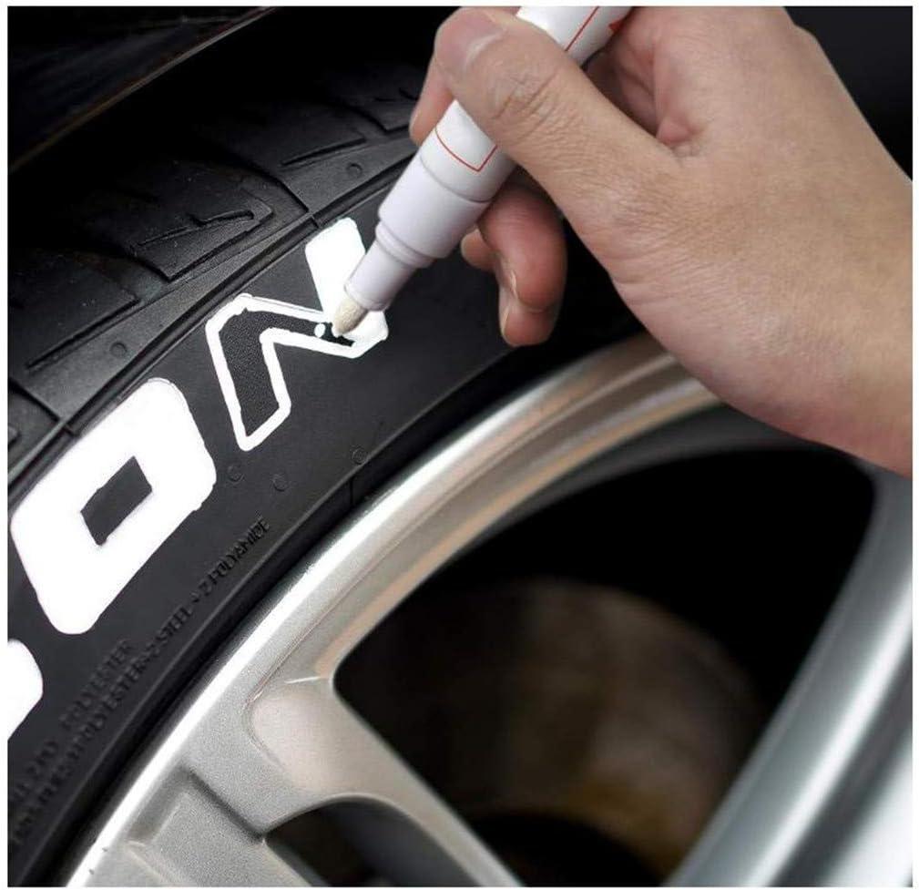 Techwills 6 Stück Weiß Reifen Stift Reifenmarker Auto Motorrad Fahrradreifen Reifenmarkierungsstift Reifenstift Marker Stift Beschriftung Wasserfest Wetterfest Auto