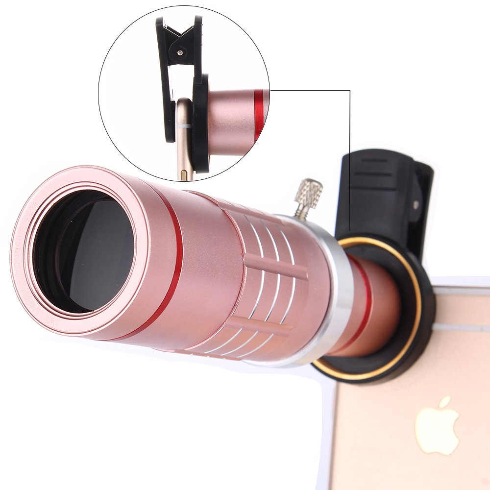 Universal 18X Zoom HD Clip On Mobile Phone Optical Camera Lens Kits,WMTGUBU Telescope Telephoto lens+15X Super Macro Lens+0.6X Wide Angle Lens for iPhone Samsung most Android Smartphones(Rosegold)