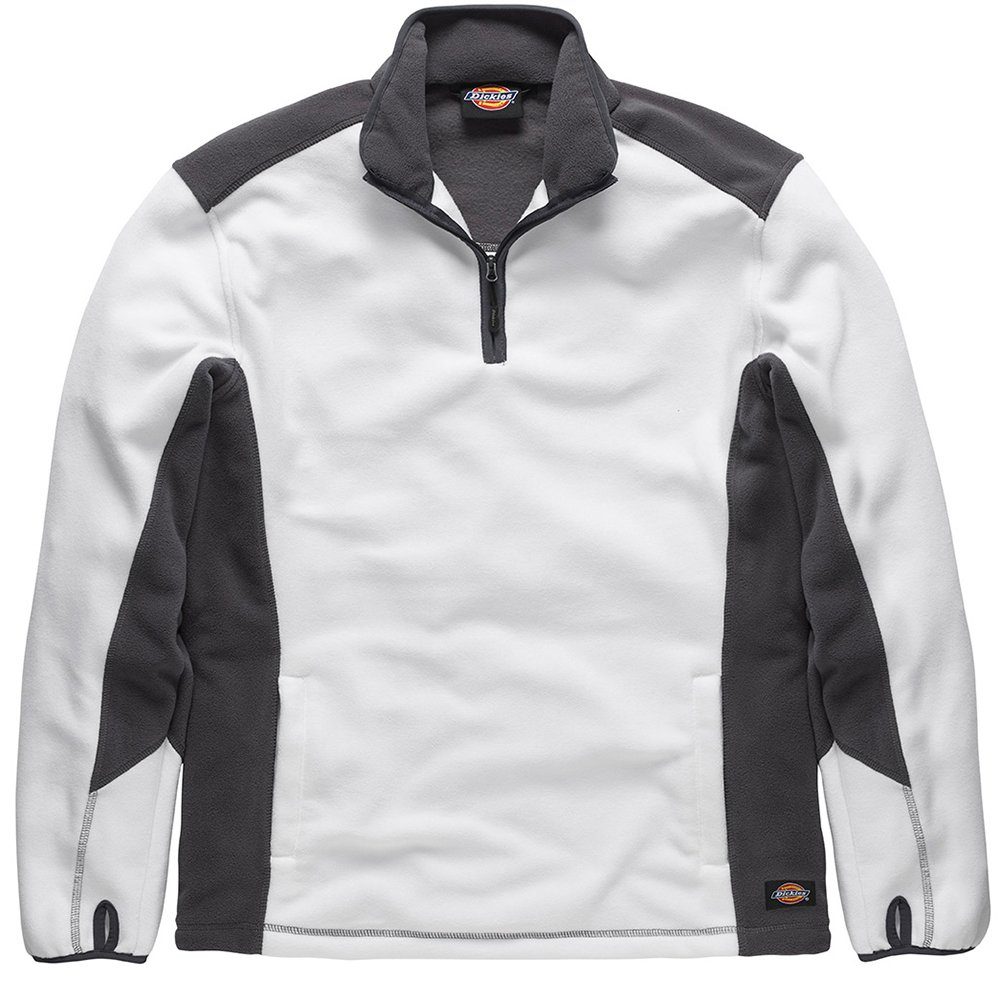 Dickies JW7011 WGYL Size Large Fleece Pullover - White/Grey