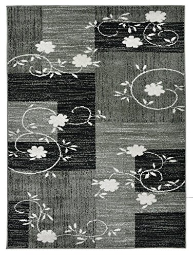 """Cheap Designer Collection Squares and Flowers Design Contemporary Modern Area Rug Rugs 3 Different Color Options (Grey, 7'10″x9'10"""")"""