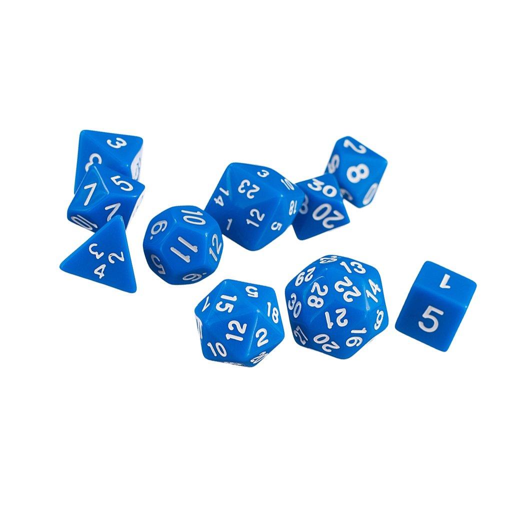 10pcs / Dés Multi-faces Définies Jeux TRPG Dungeons & Dragons D4-D30 Bleu Generic STK0157001562