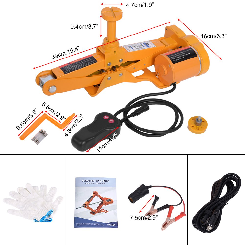 #2 3Ton 3Ton//2Ton 12V DC Automotive Electric Scissor Car Jack Lift Jack Lifting for SUV Van Garage and Emergency Equipment Yosooo Scissor Jack Lift