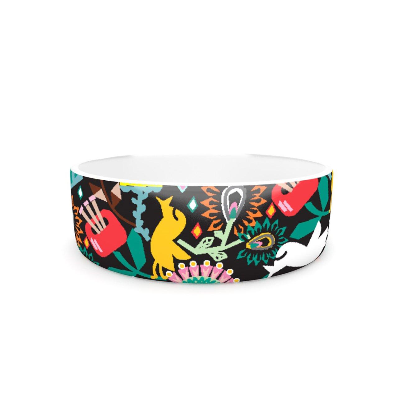 Kess InHouse Agnes Schugardt Folk Fusion  Pet Bowl, 7-Inch, Rainbow Abstract