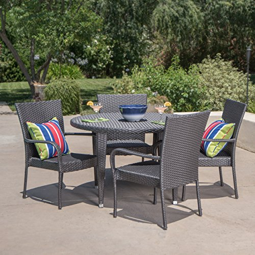 Sol y Luna Patio Furniture | 5 Piece Outdoor Dining Set Premium PE Wicker in Grey (Luna Furniture Garden)