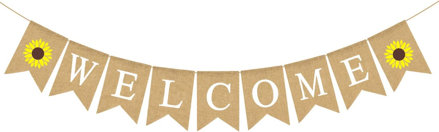 Rainlemon Jute Burlap Welcome Banner with Sunflower Gender Reveal, Baby Shower, Birthday Party, Wedding, Engagement, Retirement Party Decoration