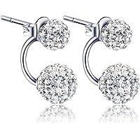 Anstsy 1 paio di gioielli da donna in argento con doppio cristallo di perline strass orecchini a lobo Adattatori da viaggio
