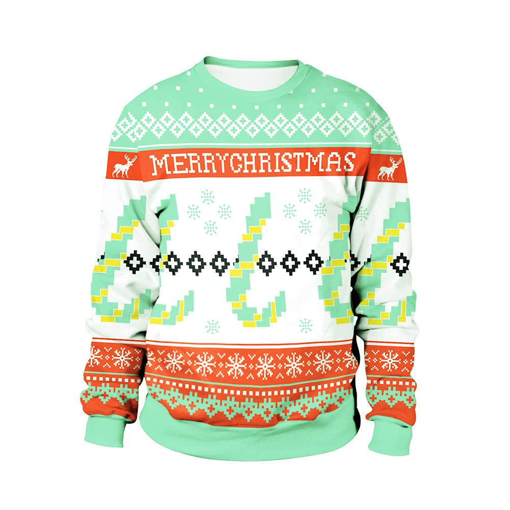 preliked Pullover Top with Christmas Letter Snowflake Print Sweatshirt Long Sleeve Men Women