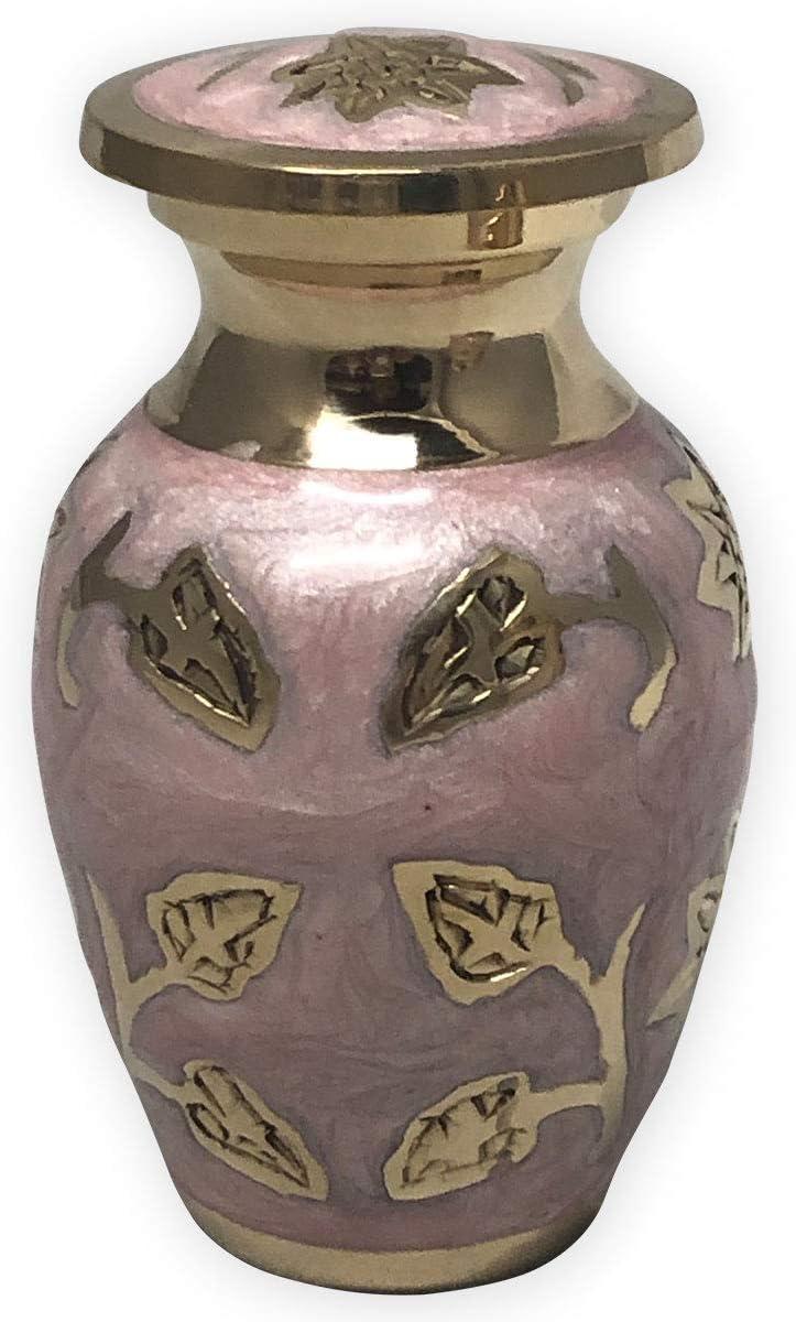 Beautiful Life Urns Pink Garden Brass Cremation Urn, Keepsake Size