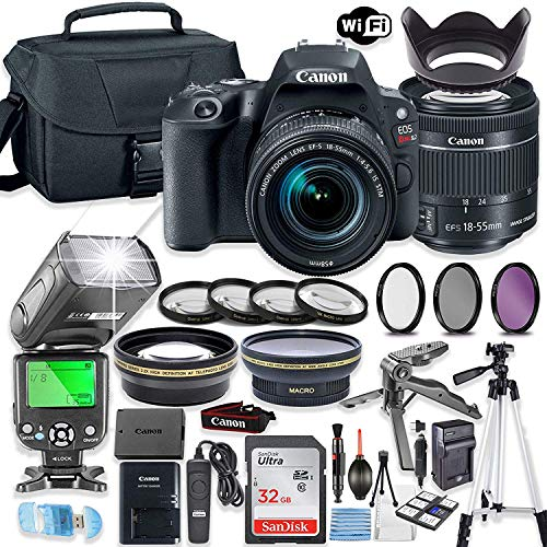 Canon EOS Rebel SL2 DSLR Camera Bundle with Canon EF-S 18-55mm STM Lens + 32GB Sandisk Memory + Canon Case + TTL Flash + Accessory Bundle