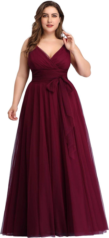 Ever-Pretty Womens V Neck A-Line Empire Waist Plus Size Evening Party Maxi Dress 07851PL