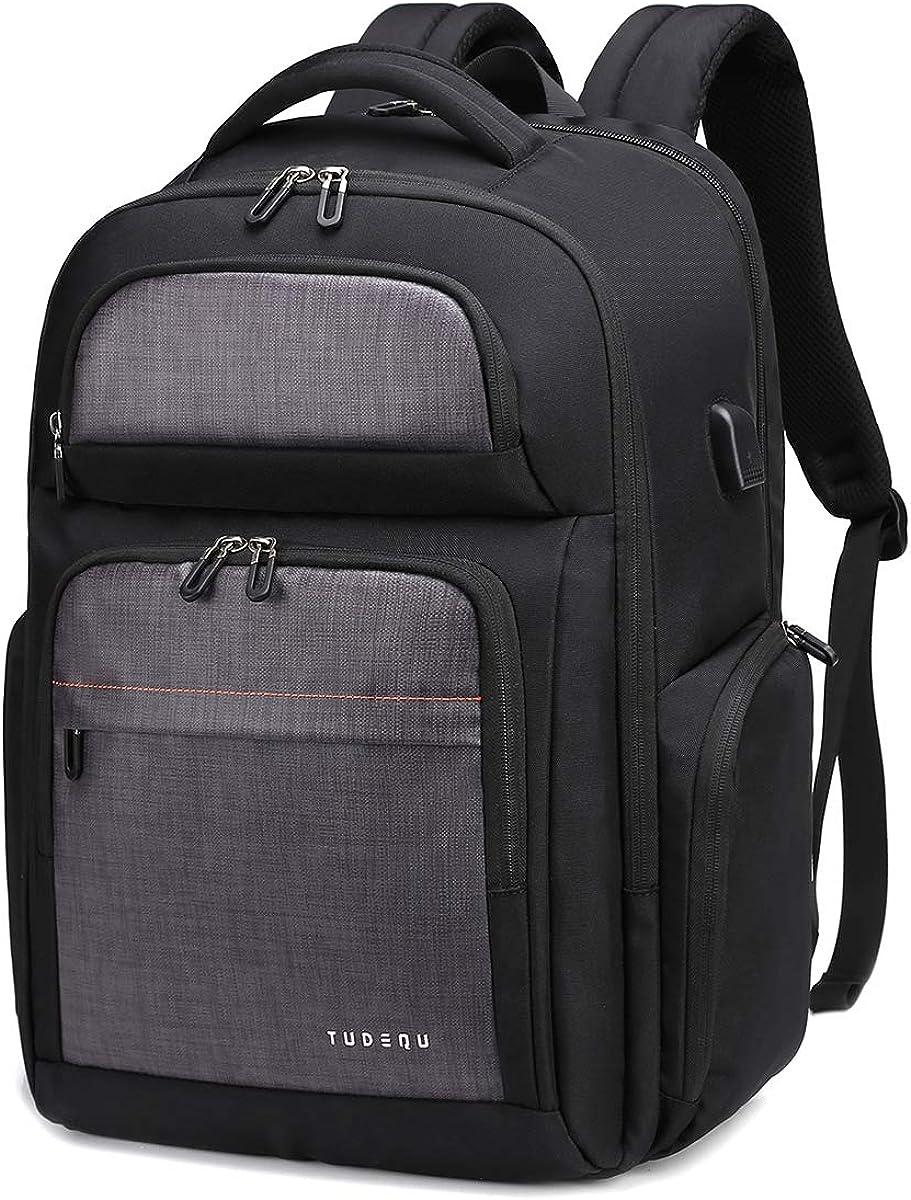 "TUDEQU 17.3"" TSA Travel Laptop Backpack with Dry Wet Separation, Messenger Bag Extra Large Computer Bag College School Laptop Bookbags for Students, Office, Men & Women, Black"