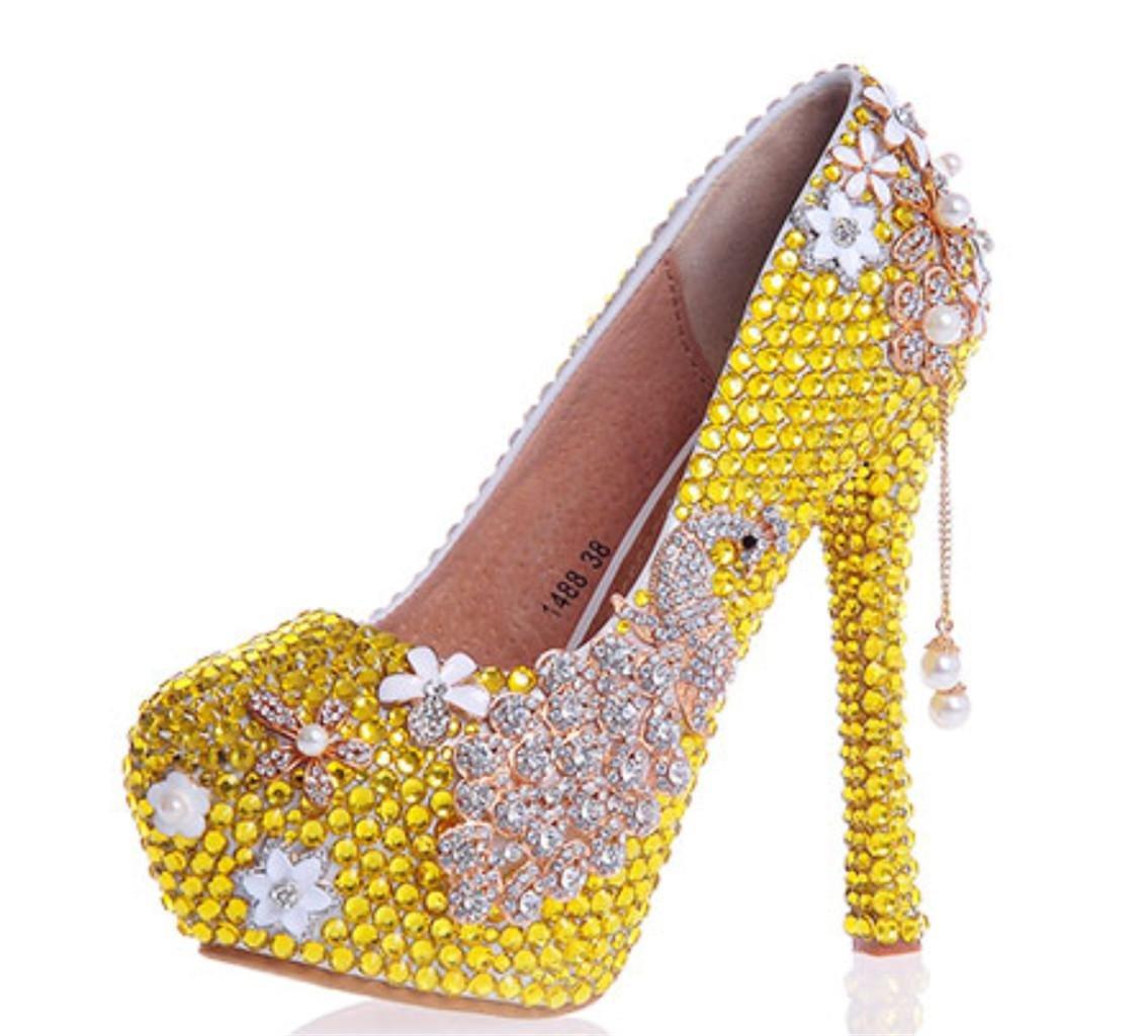Kitzen Cristales para Mujer Rhinestones Perla Novia Damas De Honor Corte Zapatos De La Fiesta De Bodas Evening Plataformas De TacóN Alto 35 EU|Yellow