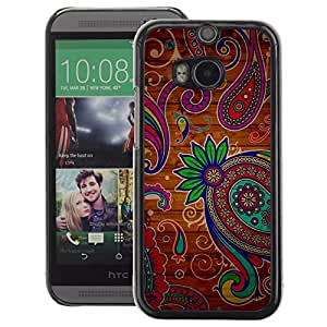 A-type Arte & diseño plástico duro Fundas Cover Cubre Hard Case Cover para HTC One M8 (Henna Tattoo Colorful Colors Flowers)