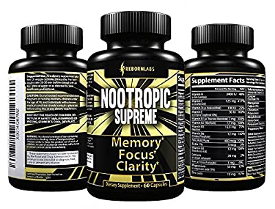 Nootropics Brain Supplement for Memory, Focus, Mental Clarity Support - Boosts Cognition, Brain Health & Concentration - With Neuro Mind Enhancers DMAE, Bacopa, L Tyrosine, & Huperzine A - 60 Pills