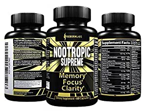 Ultra Strength Mental Performance Supplement for Memory, Focus, & Clarity | With 40+ Natural Brain Boosters for Faster, Noticeable Results | Advanced Nootropic Complex Helps Brain Function