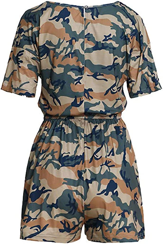 B2keevin Womens Round Neck Playsuits Camouflage Short Sleeve Casual Short Rompers