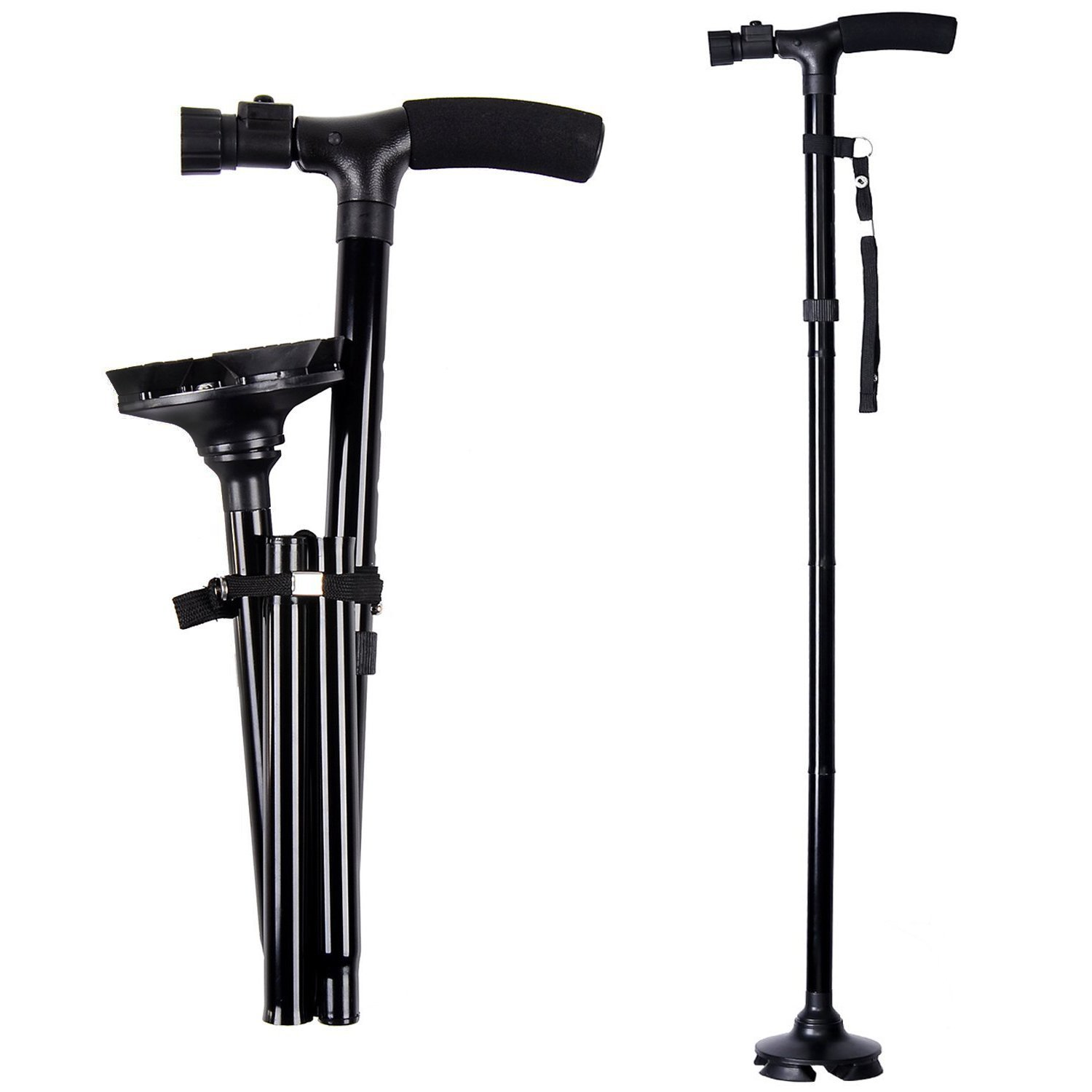 ArmaGedon Folding Cane with Led Light, Adjustable Canes and Walking Sticks for Men and Women, Walking Cane Stick for Elderly with Cushion T Handle and Pivoting Quad Base