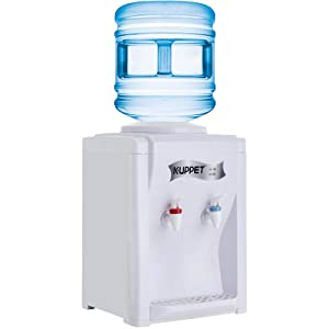 KUPPET Countertop Water Cooler Dispenser-3-5 Gallon Hot & Cold Water, ideal For Home Office Use, (17'', White)…