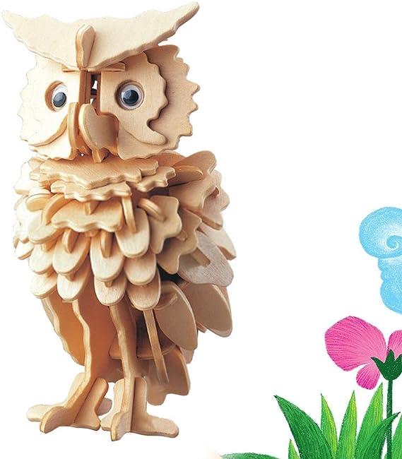 3D Puzzle en Bois Hibou Jouet Ensemble Puzzle mod/èle dassemblage Cadeau Un Cadeau Merveilleux adapt/é aux Enfants et aux Adultes