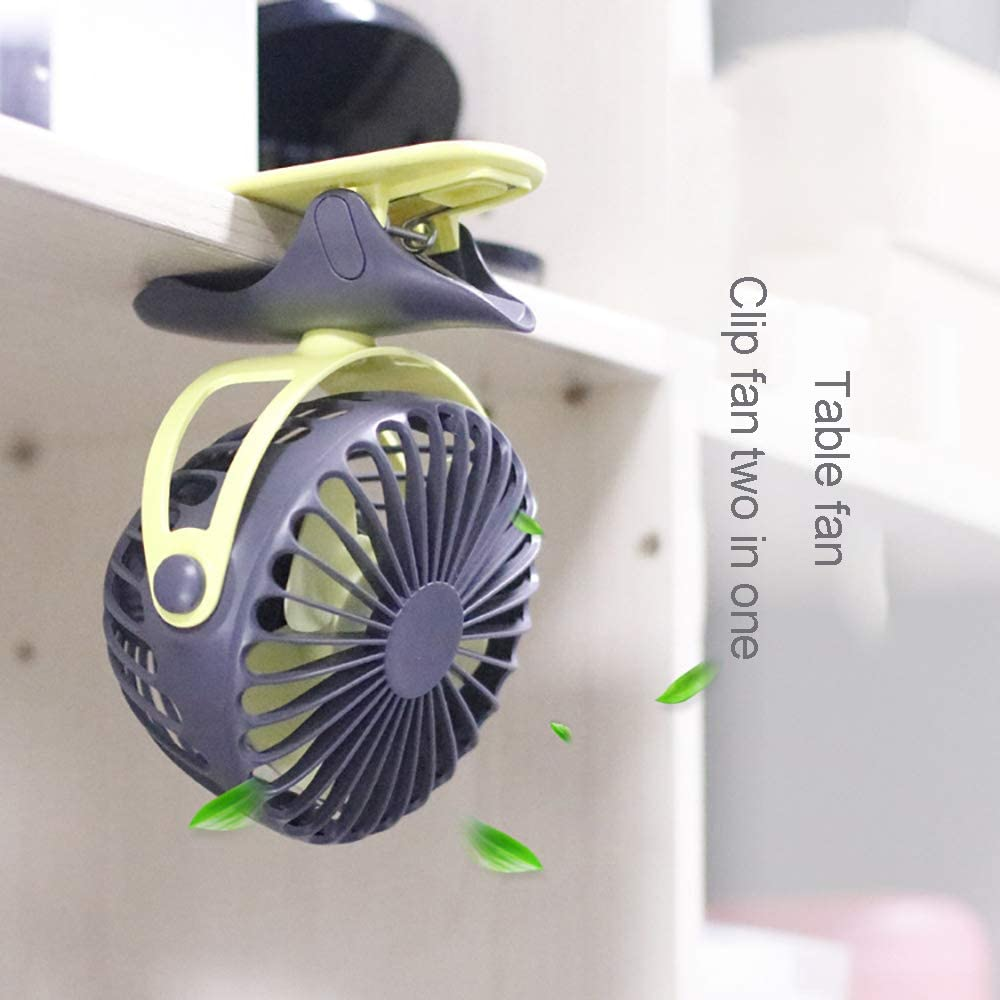 USB Portable Quiet Small Fan Adapted to Stroller Home and Office Outdoor Camping 360 Degree Rotation Clip Desk Fan