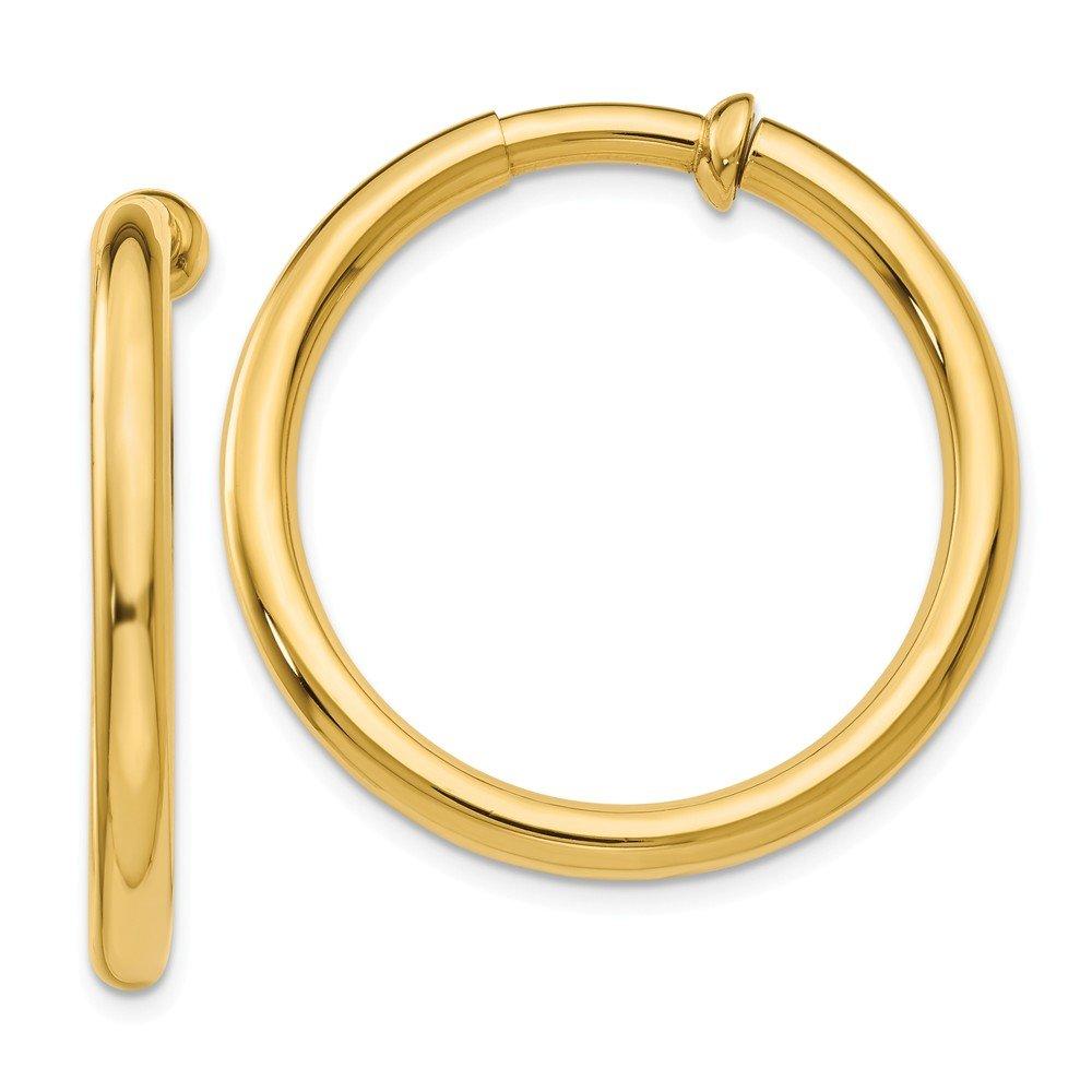 3 mm Non-pierced Clip On Hoop Earrings in Genuine 14k Yellow Gold - 30 mm