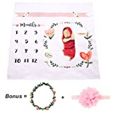 CAVN Monthly Baby Milestone Blanket Photo Props Shoots Backdrop ( Headband and Leaf-like Frame Included), Reusable Infant Baby Swaddling Blanket for Photography