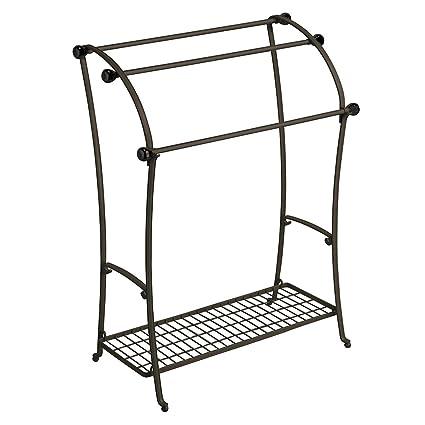 floor towel stand. InterDesign York Lyra Free-Standing Floor Towel Holder \u2013 Bathroom Drying Stand - Bronze