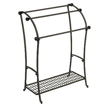 InterDesign York Lyra Free Standing Floor Towel Holder Stand, Bronze